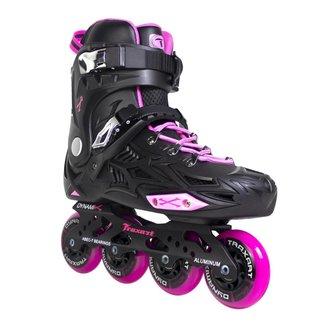 Patins Traxart Freestyle Dynamix Preto/Rose - Rodas 80mm ABEC-7 - Pink