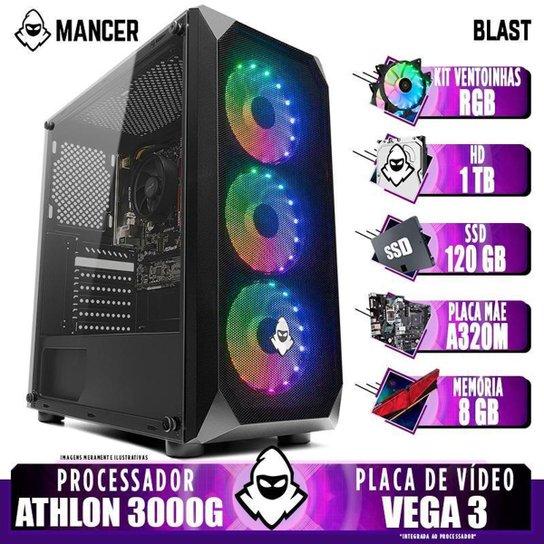 PC Gamer Mancer, AMD Athlon 3000G, 8GB DDR4, HD 1TB + SSD 120GB, 400W - Preto