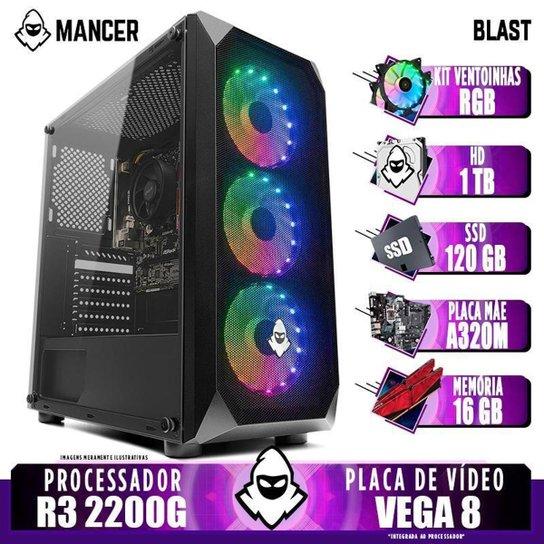 PC Gamer Mancer, AMD Ryzen 3 2200G, 16GB DDR4, HD 1TB + SSD 120GB, 400W + Kit Ventoinha RGB - Preto