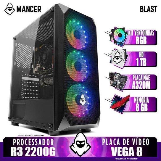 PC Gamer Mancer, AMD Ryzen 3 2200G, 8GB DDR4, HD 1TB, 400W + Kit Ventoinha RGB - Preto