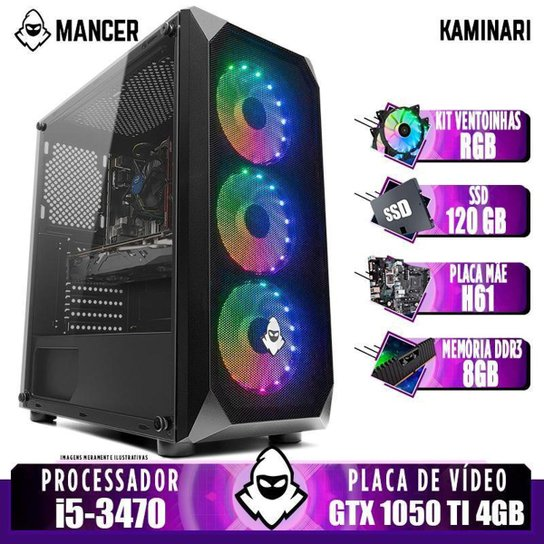 PC Gamer Mancer, Intel i5-3470, GTX 1050 Ti 4GB, 8GB DDR3, SSD 120GB, 400W - Preto