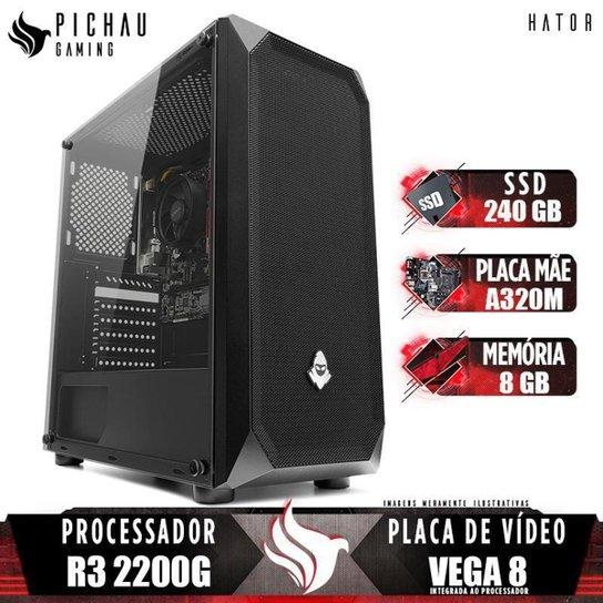 PC Gamer Pichau Hator, AMD Ryzen 3 2200G, 8GB DDR4, SSD 240GB, 400W - Preto