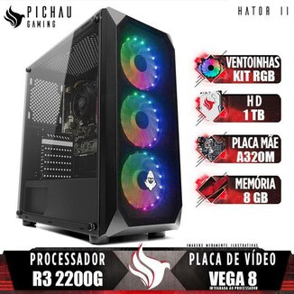 PC Gamer Pichau Hator II, AMD Ryzen 3 2200G, 8GB DDR4, HD 1TB, 400W + Kit Ventoinha RGB