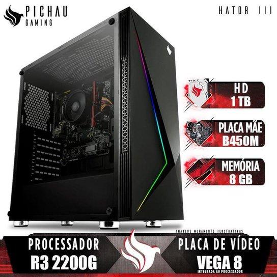 PC Gamer Pichau Hator III, AMD Ryzen 3 2200G, B450M, 8GB DDR4, HD 1TB, 400W - Preto