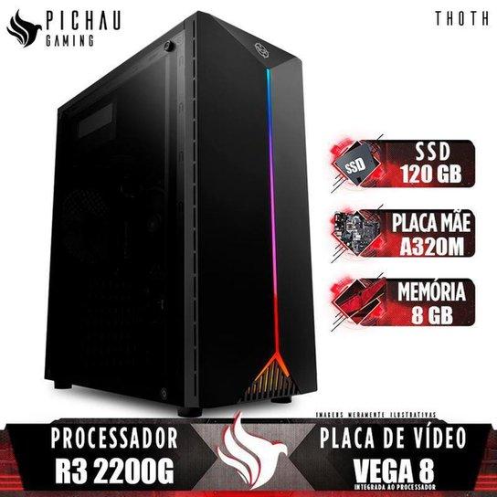PC Gamer Pichau Thoth, AMD Ryzen 3 2200G, 8GB DDR4, SSD 120GB, 400W - Preto