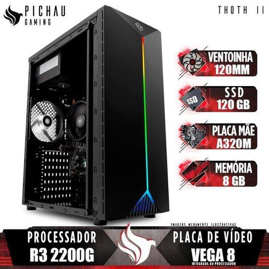 PC Gamer Pichau Thoth II, AMD Ryzen 3 2200G, 8GB DDR4, SSD 120GB, 400W + Ventoinha Branca - Preto