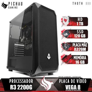 PC Gamer Pichau Thoth III, AMD Ryzen 3 2200G, 16GB DDR4, HD 1TB + SSD 120GB, 400W