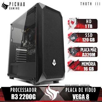 PC Gamer Pichau Thoth III, AMD Ryzen 3 2200G, 16GB DDR4, HD 1TB + SSD 120GB, 400W