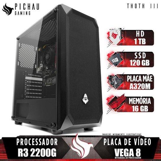 PC Gamer Pichau Thoth III, AMD Ryzen 3 2200G, 16GB DDR4, HD 1TB + SSD 120GB, 400W - Preto