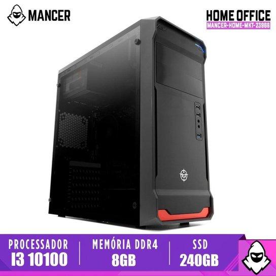 PC Home Mancer, intel i3-10100, 8GB DDR4, SSD 240GB, 500W - Preto