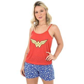 Pijama 4 Estações Curto Mulher Maravilha Regata Feminino