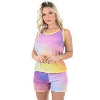 Pijama 4 Estações Curto Tie Dye Regata Casual Moda Baby Doll Feminino