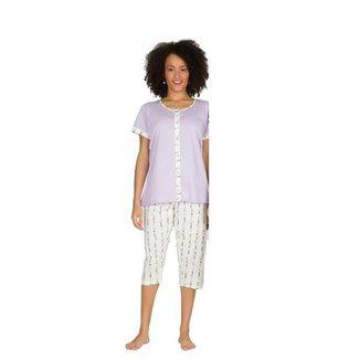 Pijama Aberto Botões Pescador Feminino Calor Verão Algodão