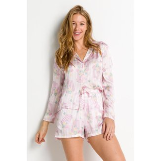 Pijama Acuo Toque De Seda Feminino