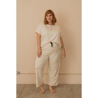 Pijama Algodão com Botões Plus Size