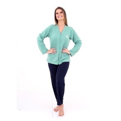 Pijama Algodao Mechler Aberto Longo Feminino