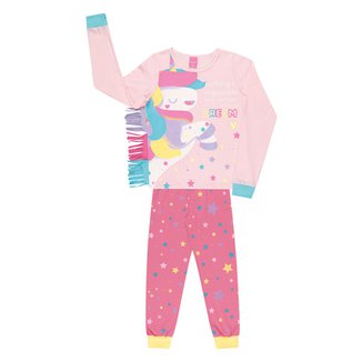 Pijama Bebê Kamylus Longo Meia Malha Unicórnio Com Franjas