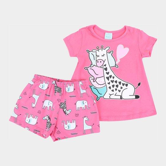 Pijama Bebê Kyly Girafinha Brilha no Escuro Feminino - Rosa