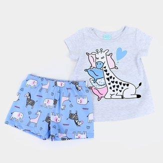 Pijama Bebê Kyly Girafinha Brilha no Escuro Feminino