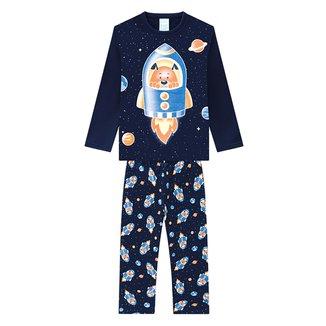Pijama Bebê Kyly Moletom Peluciado Brilha no Escuro Masculino