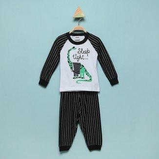Pijama Bebê Longo Duzizo Listrado Brilha No Escuro