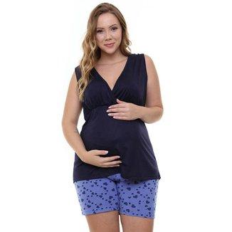 Pijama Bermudoll Gestante Plus Size Regata Luna Cuore 8966