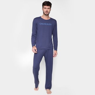 Pijama Calvin Klein Camiseta Manga Longa + Calça Viscolight Masculino