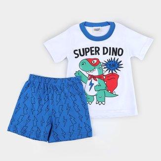 Pijama Curto Bebê Duzizo Super Dino Brilha no Escuro Masculino
