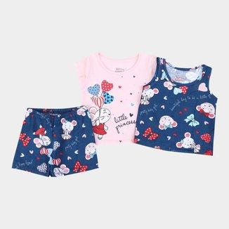 Pijama Curto Bebê Elian Little Princess 3 Peças Feminino