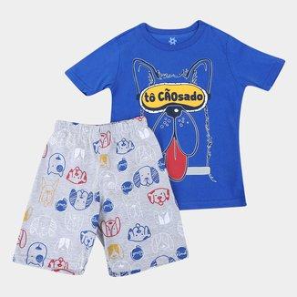Pijama Curto Infantil Brandili Tô Cansadão Masculino