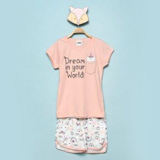 Pijama Curto Infantil Duzizo Brilha no Escuro Dreams Feminino