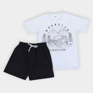 Pijama Curto Infantil Duzizo Brilha no Escuro Expedition Masculino