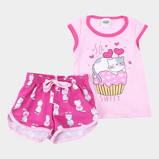 Pijama Curto Infantil Duzizo Brilha no Escuro Sweet Feminino - Rosa