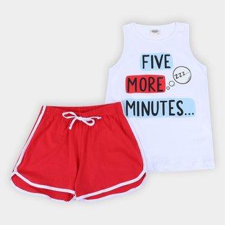 Pijama Curto Infantil Duzizo Regata Brilha no Escuro Five More Minutes Feminino