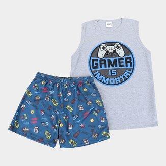 Pijama Curto Infantil Duzizo Regata Game Brilha no Escuro Masculino