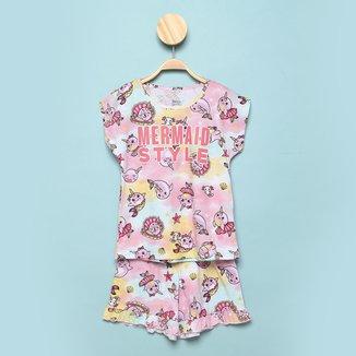 Pijama Curto Infantil Elian Mermaind Print Feminino
