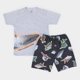 Pijama Curto Infantil Elian Shark Masculino