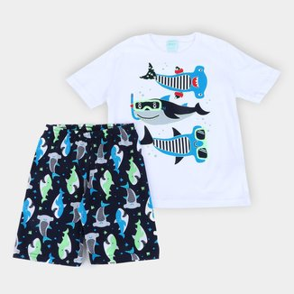 Pijama Curto Infantil Kyly Fundo do Mar Masculino