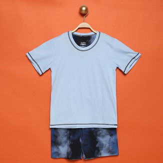 Pijama Curto Infantil Lupo Camiseta + Short Estampado Masculino