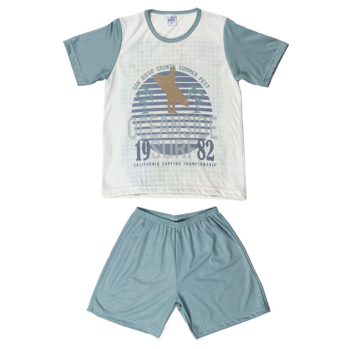 b4f099b68fd8c0 Pijama Curto Izi Dreams Infantil - Verde