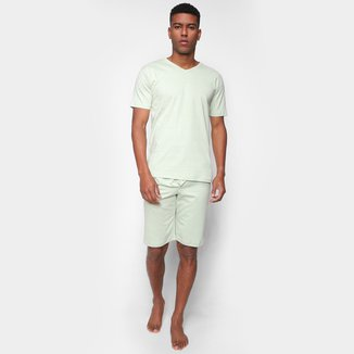 Pijama Curto Volare Liso Gola V Masculino