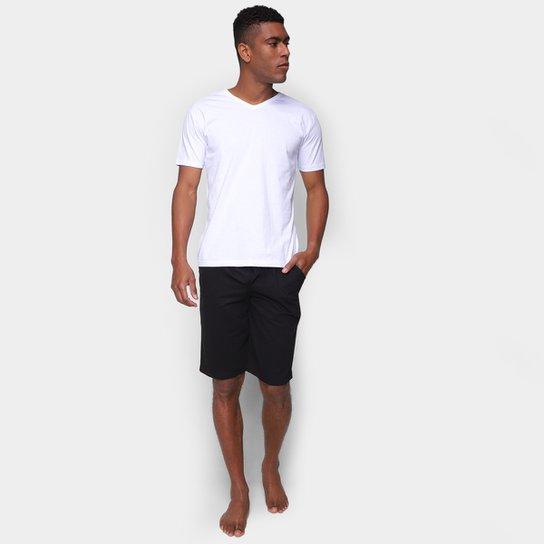 Pijama Curto Volare Liso Masculino - Preto+Branco