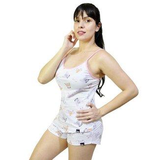 Pijama Diet Fitness Verão Conjunto Regata de Alça Estampada e Shorts Estampado Feminino