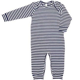 Pijama em Cotton Macacão Longo Nigambi Listrado Marinho e Branco