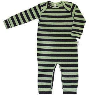 Pijama em Cotton Macacão Longo Nigambi Listrado Verde e Preto