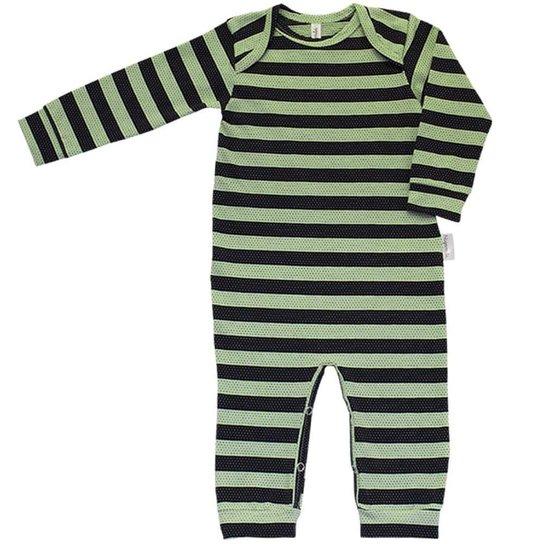 Pijama em Cotton Macacão Longo Nigambi Listrado Verde e Preto - Listrado