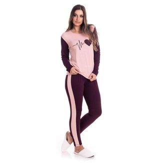 Pijama Feminino Estampado Blusa Manga Longa E Calça