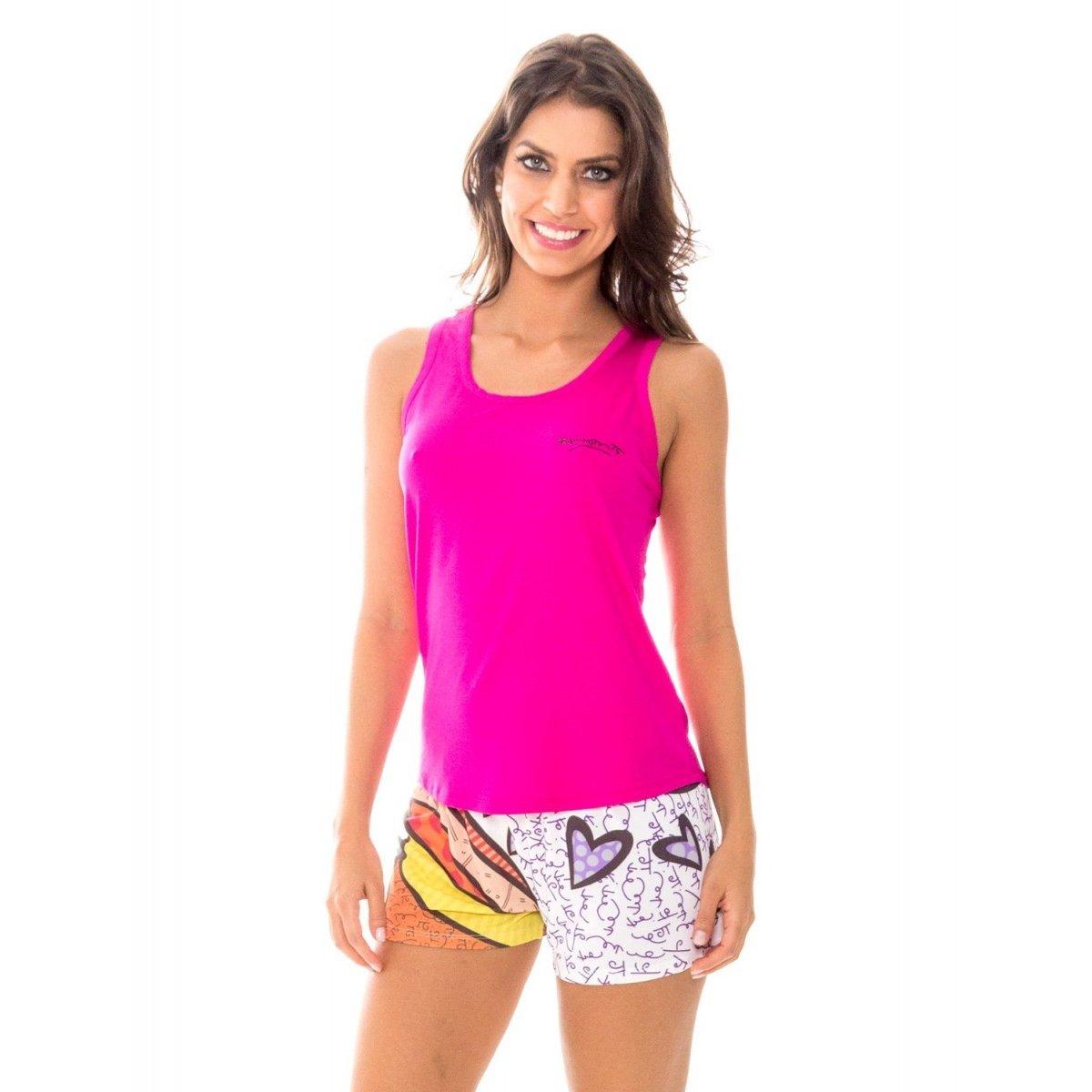 735d36f110b307 Pijama Feminino Recco Baunilha Viscose Curto 09586 - Rosa