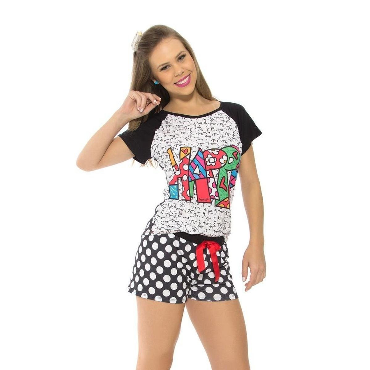 Pijama Pijama Femino Recco Preto 09175 Recco Femino Verão Curto Curto w5gxAqZa
