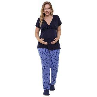 Pijama Gestante Plus Size Inverno Manga Curta Luna Cuore 8960
